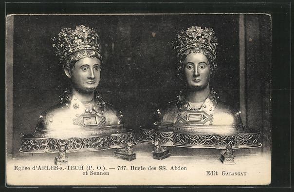 Bustes de saint Abdon et saint Sennen, à Arles sur Tech.