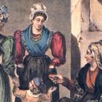 Grisette et demoiselle achetant à une paysanne, lithographie de A.Bayot, 1833.