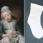 Chaussette au tricot et tableau de Greuse de 1759