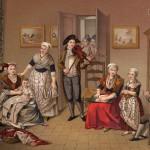 Famille Perpignanaise, les femmes sont à l'ouvrage, P.Maurin, vers 1790.