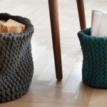 paniers en tricot en décoration d'interieur