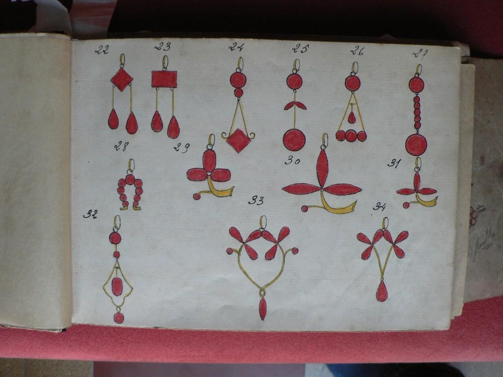 Croquis de bijoux en grenat de Perpignan, A.Colomer, 1910-1920.
