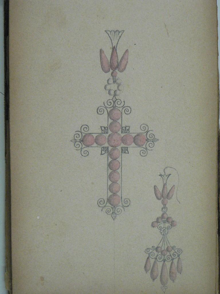 Modèle de croix de Perpignan et de boucle d'oreille en grenat, versd 1860-1870.