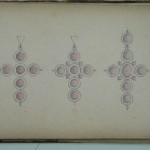 Trois modèles de croix en grenat, Maison Charpentier, Perpignan, 1860-1870.