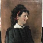 a vendre Portrait de jeune femme à la broche en grenats, 1870.