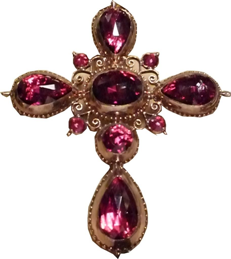 Croix de Perpignan en or et grenats, seconde moitié du XIXe s.