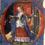 Sainte Catherine, enluminure du livre des Merciers, Perpignan, XVe s.