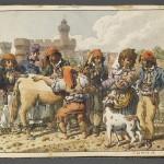 Costumes paysans devant le Castillet en 1818, MNATP, Paris.