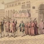 Consuls de Perpignan sortant en cortège du Consulat place de la Loge , 1787, Beugnet, BNF.