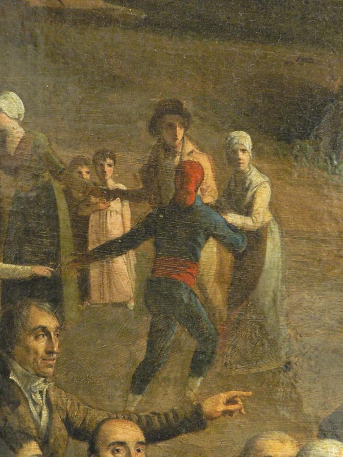 """Sardane au son de la cobla de jotglars , détail de la """"Vue de l'Ermitage de Consolation"""", Collioure.  , Pierre Maurin 1814"""