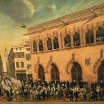 Vue de la Place de la Loge milieu XIXe s., Musée du Castillet, Perpignan.
