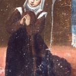 ex-voto de l'ermitage de Domanova (Conflent) : femme habillée à la catalane, fin 17e s.
