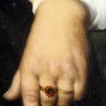 Main à la bague en grenat, détail d'un portrait de Catalane par Blanquer.