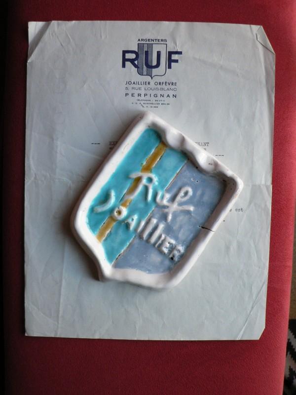 cendrier publicitaire, bijouterie Ruf à Perpignan, vers 1960.