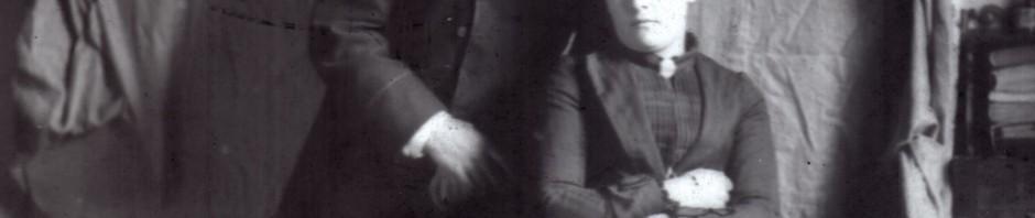 Photographie sur plaque de verre, couple, Molitg, vers 1890.