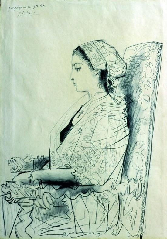 profil de Paule de Lazerme en Catalane, Picasso, 1954.