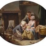La famille Debouches la veille du départ, évocation d'après un tableau de Lépicié.