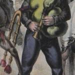 Homme jouant de la cornemuse roussillonnaise, vers 1830.
