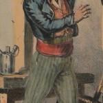Roussillonnais buvant à la régalade, vers 1830.