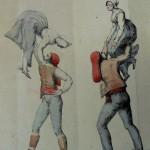 Danses catalanes: le saut, lithographie d'Engelmann, 1823.