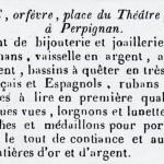 annonce de l'orfèvre Lacoste, Perpignan, 1844.