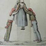 Le saut par groupe (1823), danse catalane, lithographie d'Engelmann