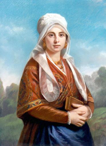 Portrait de mlle Barbaroux en costume toulousain, Musée du Vieux Toulouse. Gabriel Durand, 1801-1882.