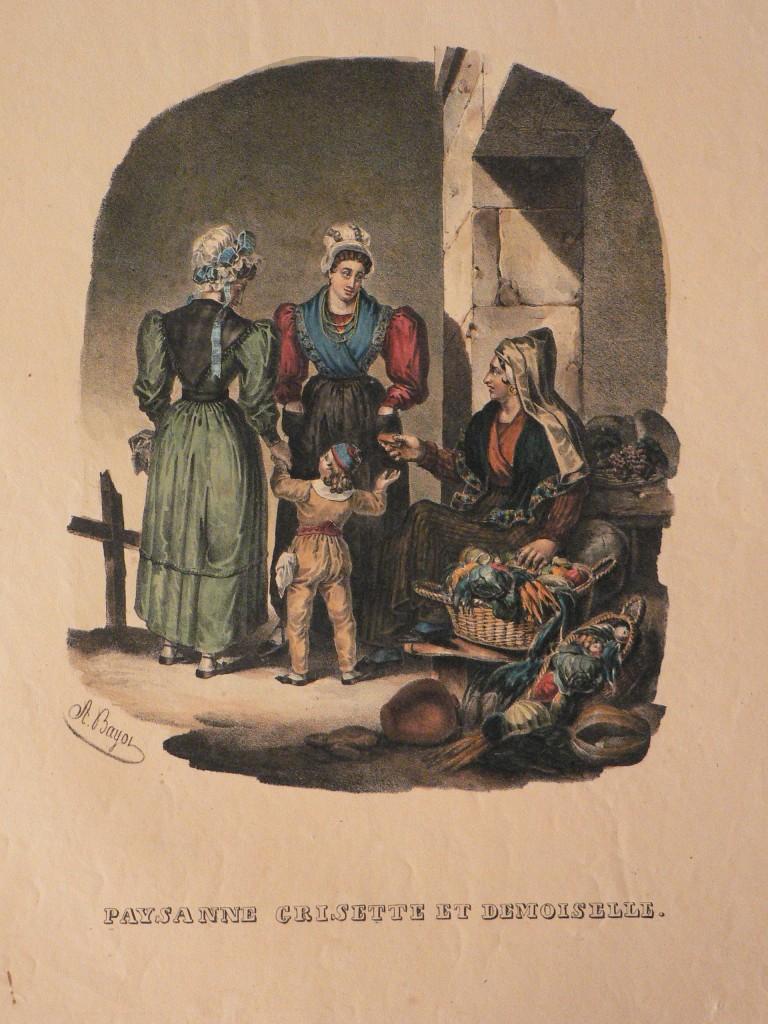 Lithographie d'Alphose Bayot: Demoiselle, Gresette et Paysanne, 1833.