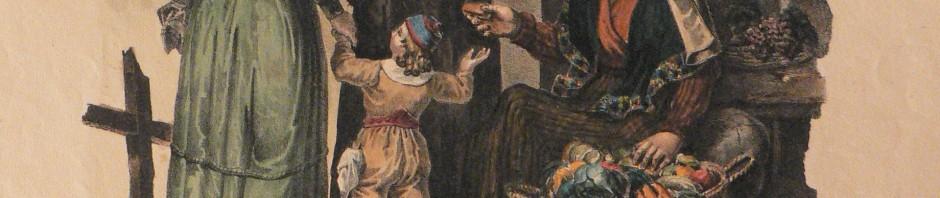 Lithographie d'Alphose Bayot: Demoiselle, Grisette et Paysanne, 1833.