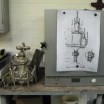 dessin préparatoire de l'ostensoir à reconstituer