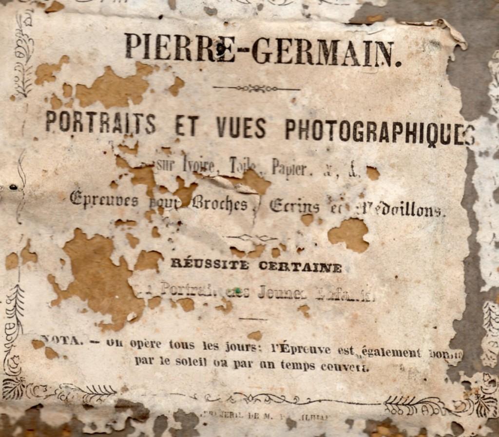 Etiquette à l'arrière de la photographie, Pierre Germain, Perpignan.