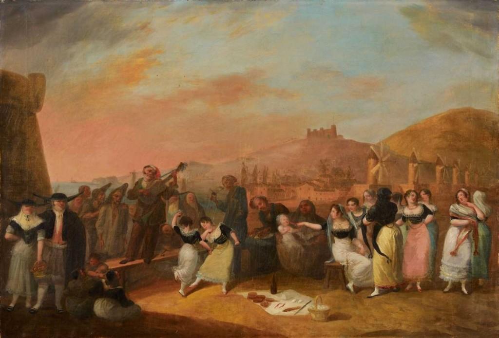 Personnages en costumes devant une vue de Barcelone, vers 1820.