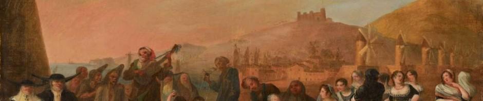 Personnages en costumes devant une vue de Barcelone, vers 1820.© Kunsthaus Lempertz 2011