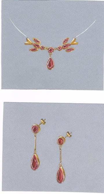GOUACHE du bijou en Grenat de Perpignan offert aux Reines d'Arles