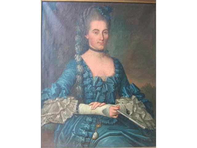 Portrait de femme daté de 1767 par Descours, étude Dapsens Bouviers, Coulommiers.