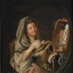 Jeune femme préparant son chapeau de bal, coll. part.