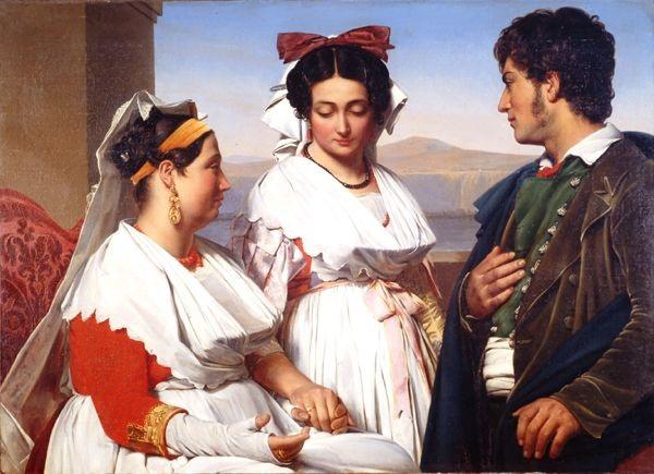 Guillaume Bodinier (1795-187), la demande en mariage ou costumes d'Albano près de Rome, 1825, Musée d'Angers.