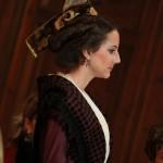 Lors du discours d'intronisation, Astrid Giraud, reine d'Arles à Perpignan.