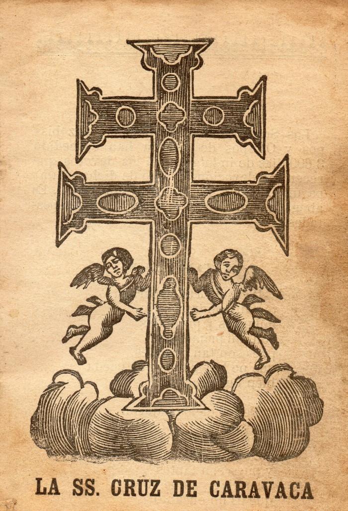 Croix de Caravaca issue d'un ouvrage de piété en espagnol.
