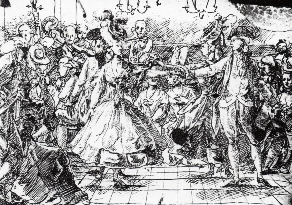 Amusements chez la noblesse catalane, dessin attrribué à Anton Casanovas, fin XVIIIe s., Barcelone.
