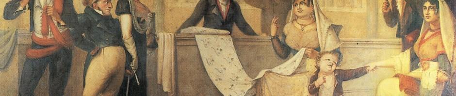 Enseigne d'une boutique de textiles, Barcelone, musée d'histoire de la ville.