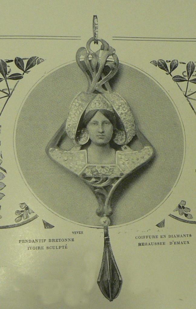 """Les modes 1901, Pendentif """"Bretonne"""" de Vever, paris."""