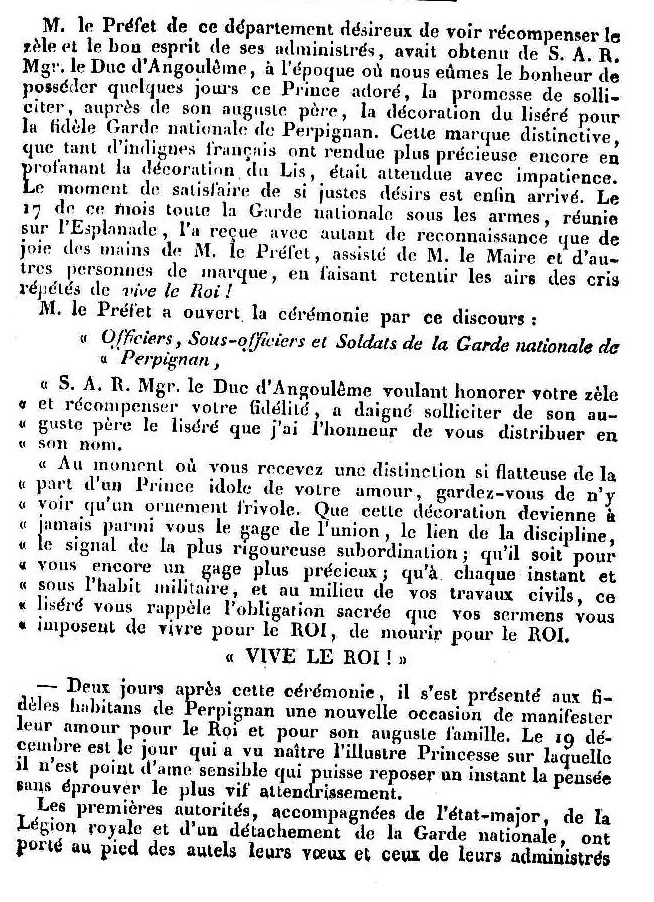 Le Journal des Pyrénées-Orientales, 23 12 1815.