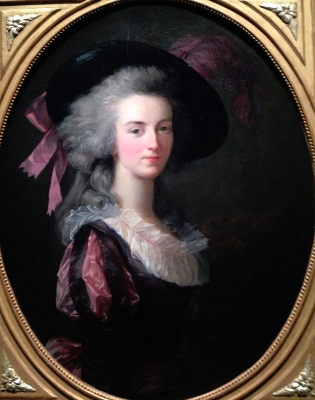 Dame Marie Blanche Félicité de Narbonne-Pelet, Marquise d'Haucourt, Comtesse de Mailly, Baronne de Saint-Amand (1763-1840); troisième épouse du Maréchal de Mailly-D'Haucourt et mère d'Adrien de Mailly. E. Vigée-Lebrun, 1785.