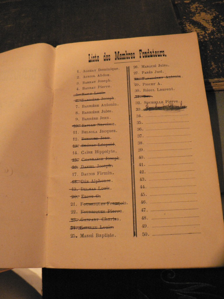 Liste des fondateurs de la société de secours-mutuel l'Alliance.