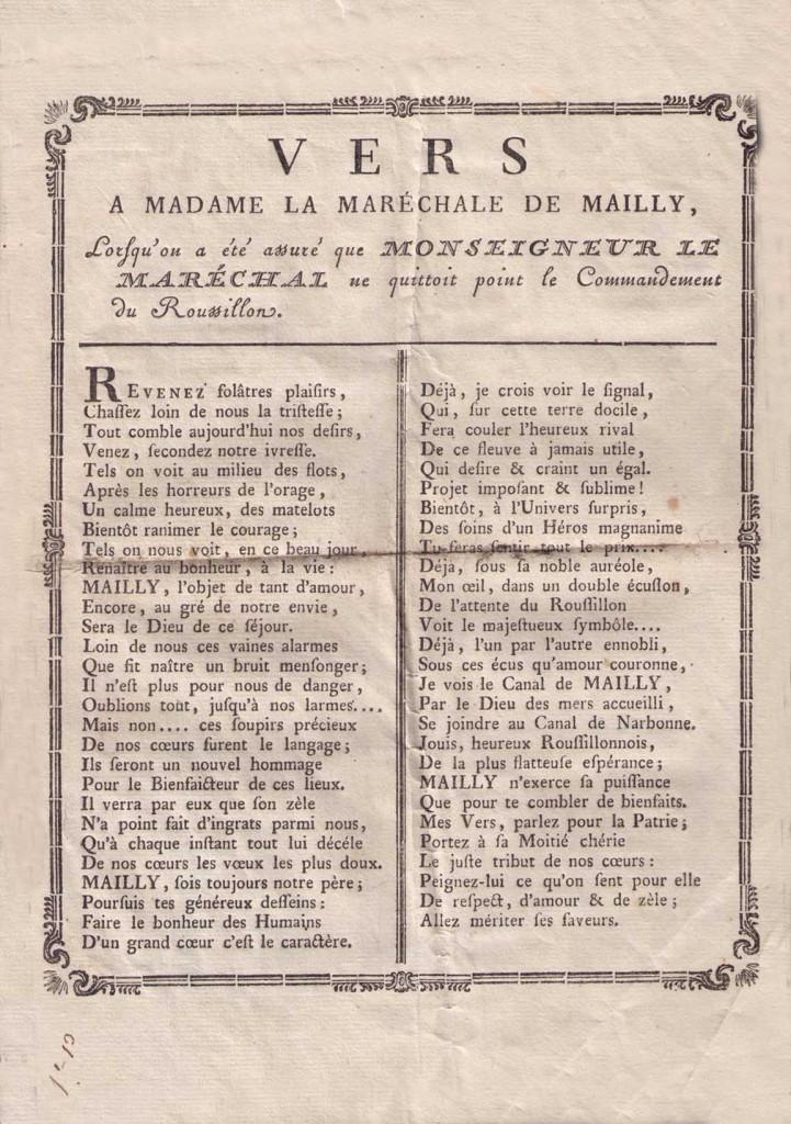 Vers dédiés à l'épouse d'Augustin de Mailly, archives privées.