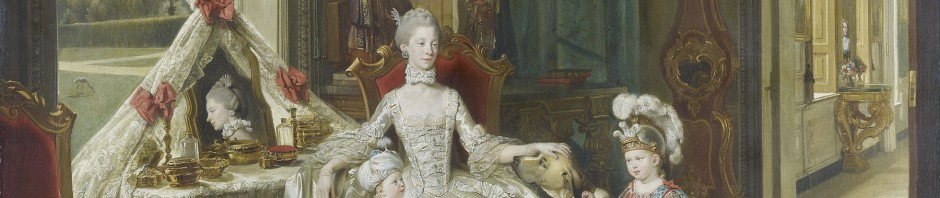 La Reine Charlotte avec ses deux fils aînés, Zoffany,vers 1764-1765, Collection royale d'Elizabeth II.