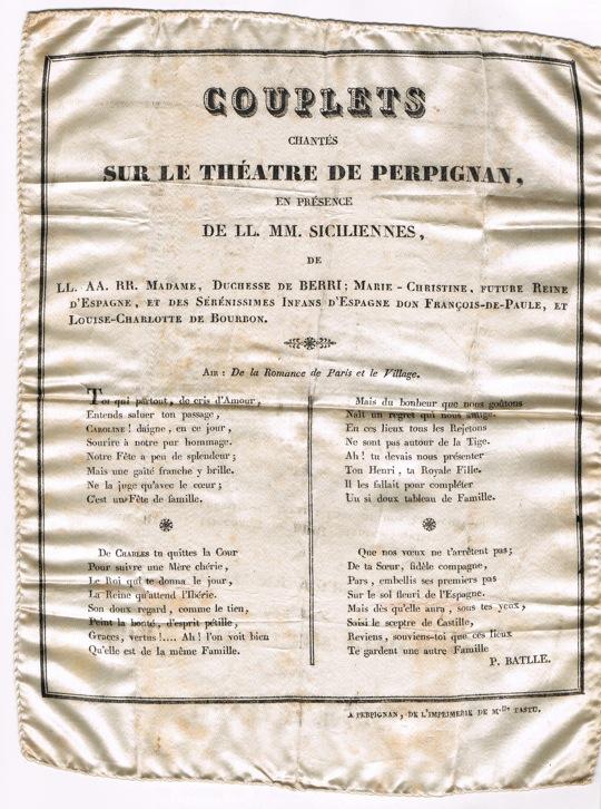 Couplets sur tissus 1929; Imprimerie Tastu, Perpignan.