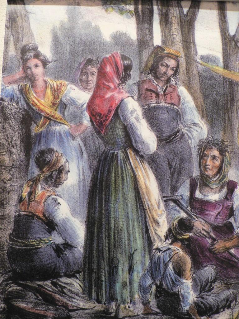 Campement de Gitans devant le Castillet, gravure, début XIXe s.