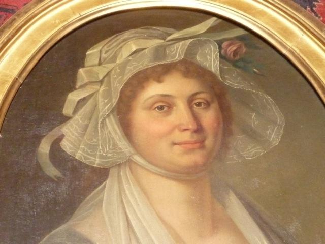 Détail du portrait de Françoise Estève, née Tronc, Pierre Maurin, collection particulière.